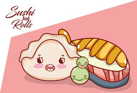 kawaii fish sushi peas and cookie food japanese cartoon vector illustration sushi and rolls 向量圖像