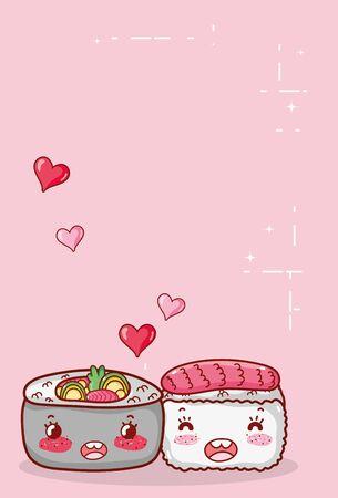 kawaii sushi and soup ramen food japanese cartoon vector illustration sushi and rolls