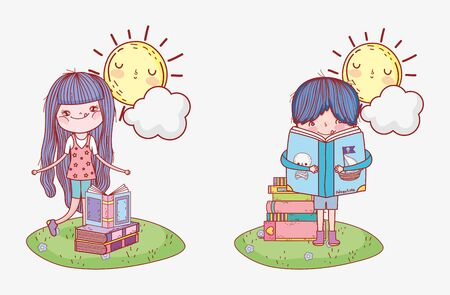 girl and boy with books sun cloud grass outdoor cartoon vector illustration