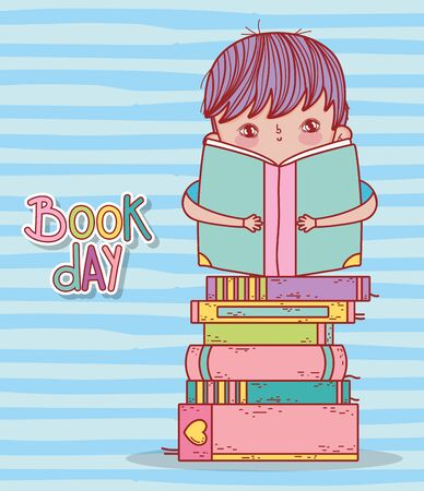 cute boy sitting reading book in stacked books vector illustration