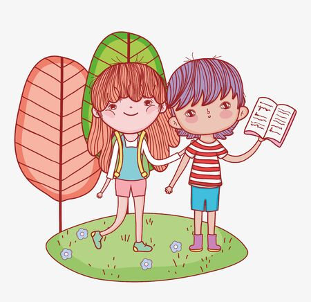 little girl with backpack and boy reading book outdoor cartoon