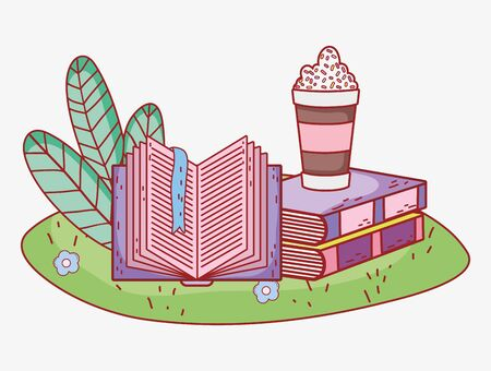 smoothie in stacked books and open book grass foliage