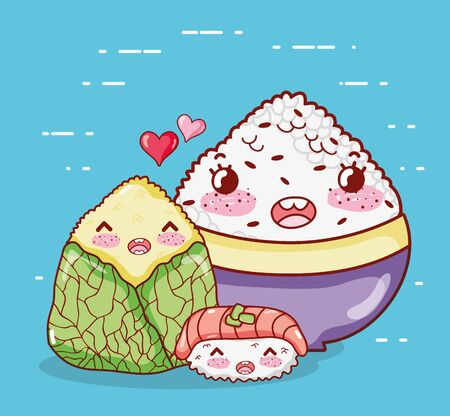 kawaii rice shushi and wrapped food japanese cartoon, sushi and rolls