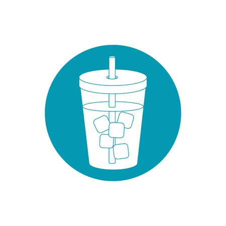 drinks beverage cold with ice cubes and straw blue block style icon