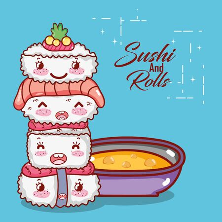 stacked sushi wasabi fish salmon and soup food japanese cartoon , sushi and rolls  イラスト・ベクター素材
