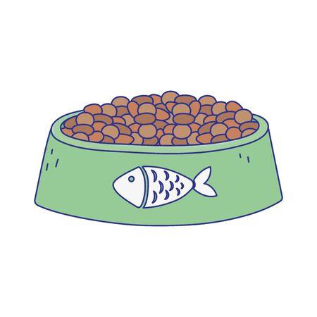pet cat food bowl with fish design icon Archivio Fotografico - 142165515
