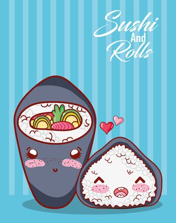 temaki and rice roll love food japanese cartoon, sushi and rolls