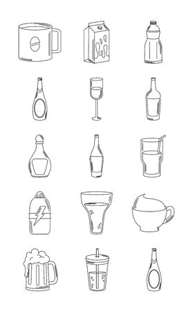 drinks beverage glass cups bottle alcoholic liquor icons set vector illustration line style icon