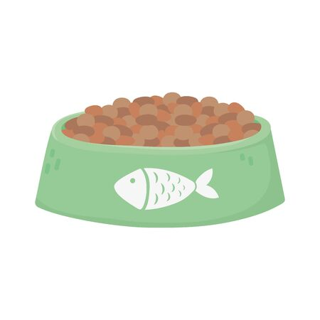 pet cat food bowl with fish design icon Archivio Fotografico - 142165571