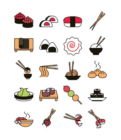 sushi oriental menu icons set line and fill style icon Archivio Fotografico - 142165573
