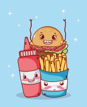 fast food cute french fries burger and tomato sauce cartoon Ilustração