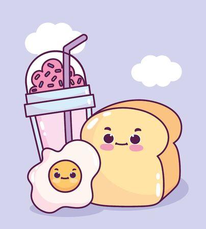 cute food breakfast bread and fried egg and smoothie sweet dessert pastry cartoon Ilustração