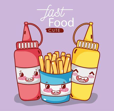fast food cute french fries mustard and tomato sauce cartoon Ilustração