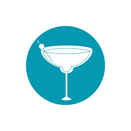 drinks glass cup alcohol with olive in stick blue block style icon
