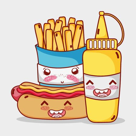 fast food cute french fries hot dog and mustard cartoon