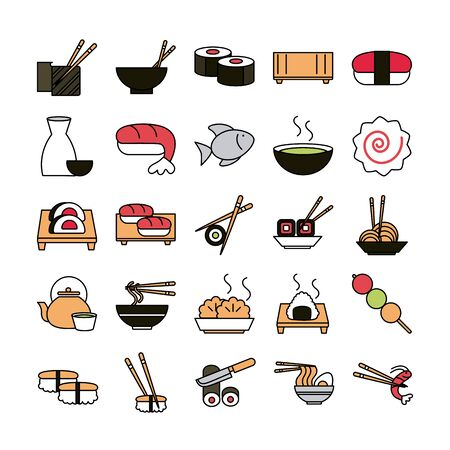 sushi oriental menu icons set line and fill style icon Archivio Fotografico - 142165723