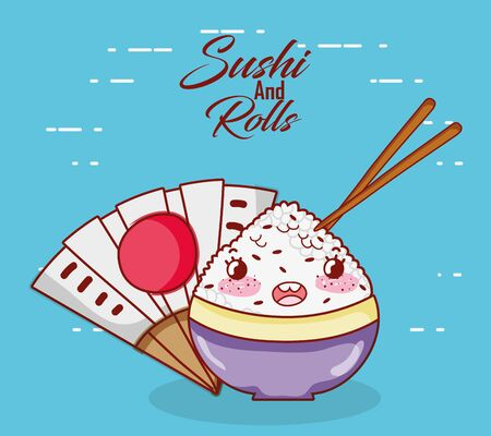 rice in bowl sticks food japanese cartoon, sushi and rolls