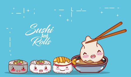 kawaii dumpling in sauce shushi rice soup food japanese cartoon vector illustration sushi and rolls Vectores