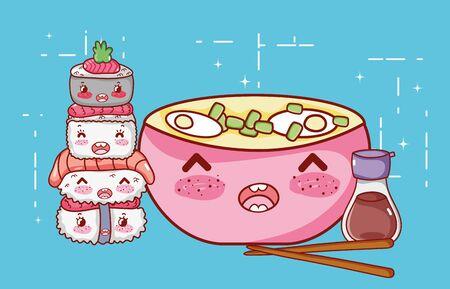 kawaii ramen soup sushi sake and chopsticks food japanese cartoon vector illustration sushi and rolls Archivio Fotografico - 142158110