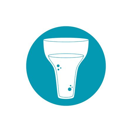 drinks glass cup elegant celebration vector illustration blue block style icon