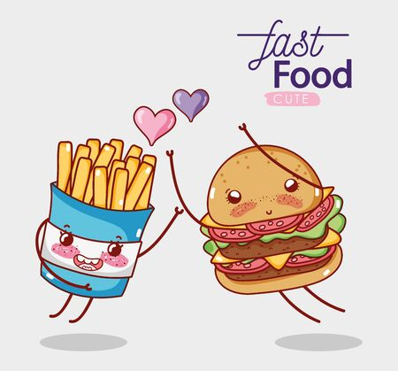 fast food cute burger and french fries love hearts cartoon Ilustração