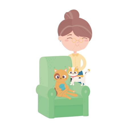 cats make me happy, old woman with cat playing ball of wool in sofa vector illustration Vettoriali