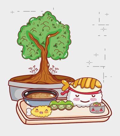 kawaii sushi peas tempura and potted bonsai japanese cartoon vector illustration sushi and rolls