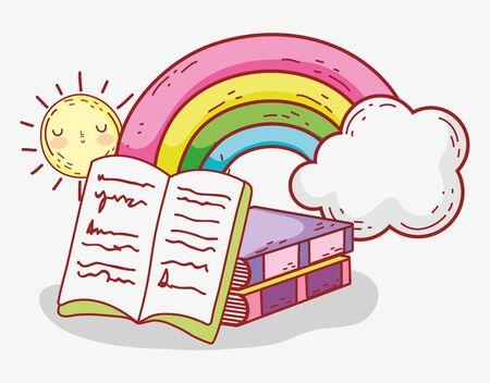 open book stacked books rainbow clouds sun cartoon vector illustration