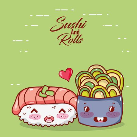 kawaii nigiri sushi fish and salad bowl food japanese cartoon vector illustration sushi and rolls Archivio Fotografico - 142158186