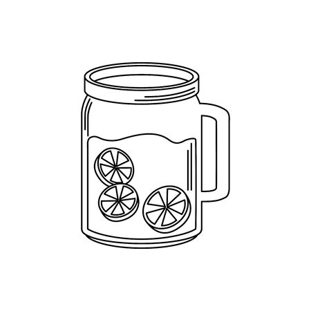 drinks glass mug juice with slices lemon vector illustration line style icon