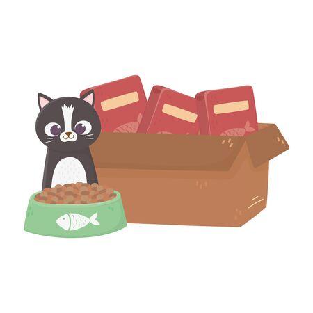 cats make me happy, cat with cardboard box filled food vector illustration Vektorgrafik