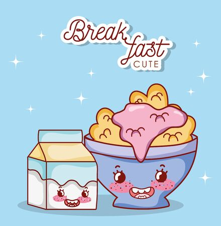 breakfast cute bowl with cereal yogurt and milk box cartoon