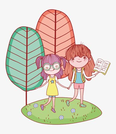 little girls holding hands with book in outdoor vector illustration Banque d'images - 142158296