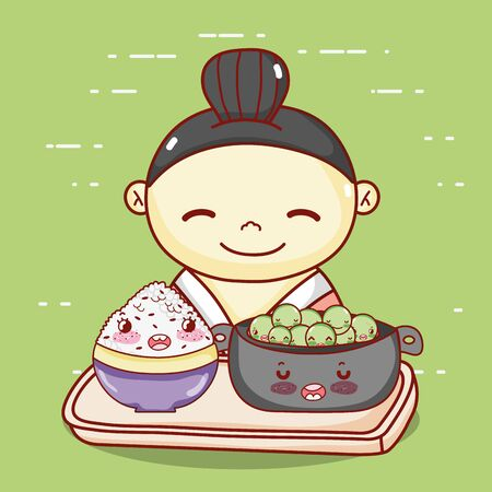 geisha with bowl and rice in tray food japanese cartoon, sushi and rolls  イラスト・ベクター素材