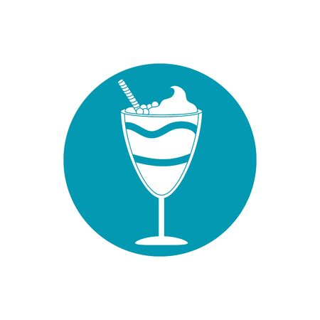 drinks glass with cream wafer straw cinnamon blue block style icon