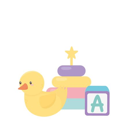 kids zone, alphabet block duck and stacking tower cartoon toys vector illustration Ilustração