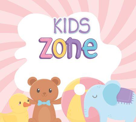 kids zone, teddy bear duck plastic ball and elephant toys vector illustration