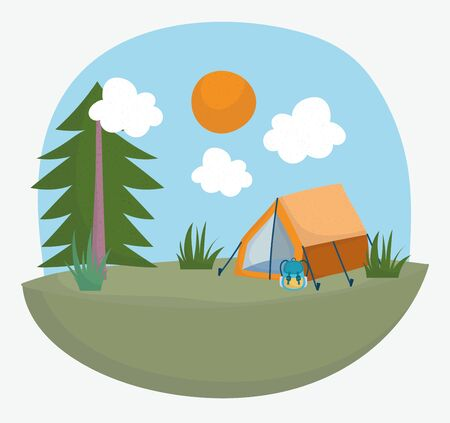 camping tent backpack tree grass sun vacations activity adventure design vector illustration