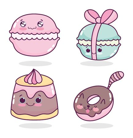 food cute pastry macaroons jelly and donut cartoon vector illustration
