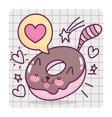 food cute sweet donut shaped cat cartoon on grid background vector illustration