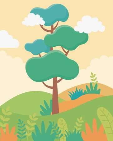 landscape trees leaves sky foliage nature greenery image vector illustration