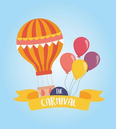 fun fair carnival hot air balloon balloons decoration recreation entertainment vector illustration Stock Vector - 142422379