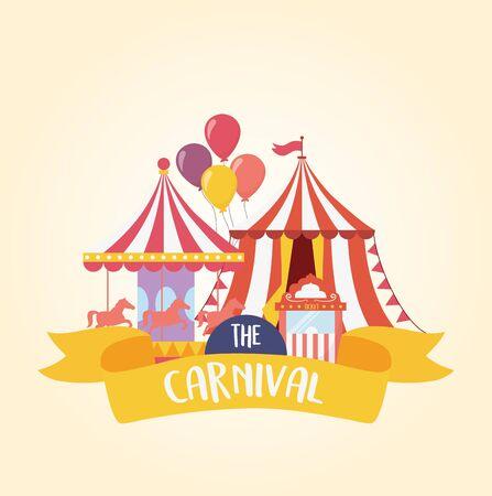 fun fair carnival carousel tent and ticket booth recreation entertainment Stock Vector - 142422332