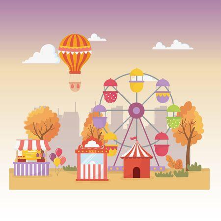 fun fair carnival booth tent balloons air balloon ferris wheel city recreation