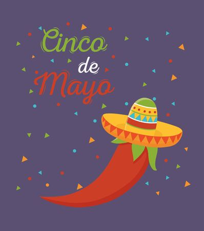 cinco de mayo mexican celebration chili pepper with hat card