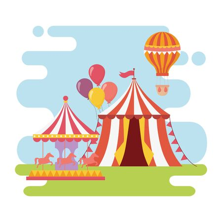 fun fair carnival carousel tent hot air balloon recreation entertainment Stock Vector - 142422497