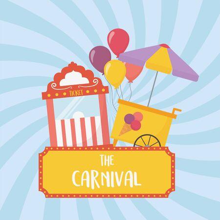 fun fair carnival ticket booth and ice cream cart recreation entertainment vector illustration Stock Vector - 142422383
