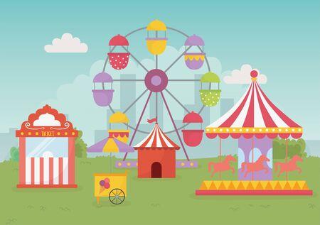 fun fair carnival tent carousel balloons ferris wheel recreation entertainment Stock Vector - 142441588