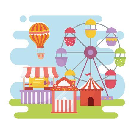 fun fair carnival ferris wheel booth ticket food recreation entertainment Stock Vector - 142441646