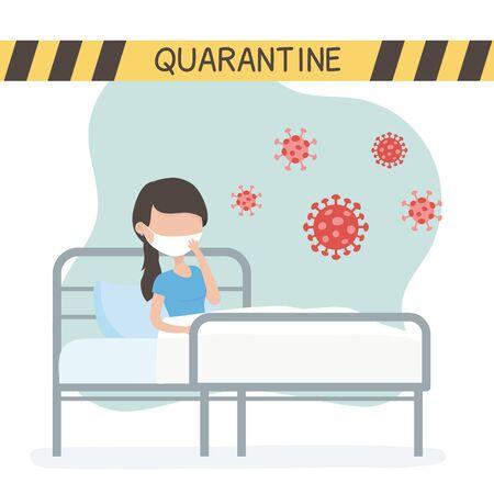 virus covid 19 quarantine, sick woman in bed clinic coronavirus warning tape Ilustración de vector